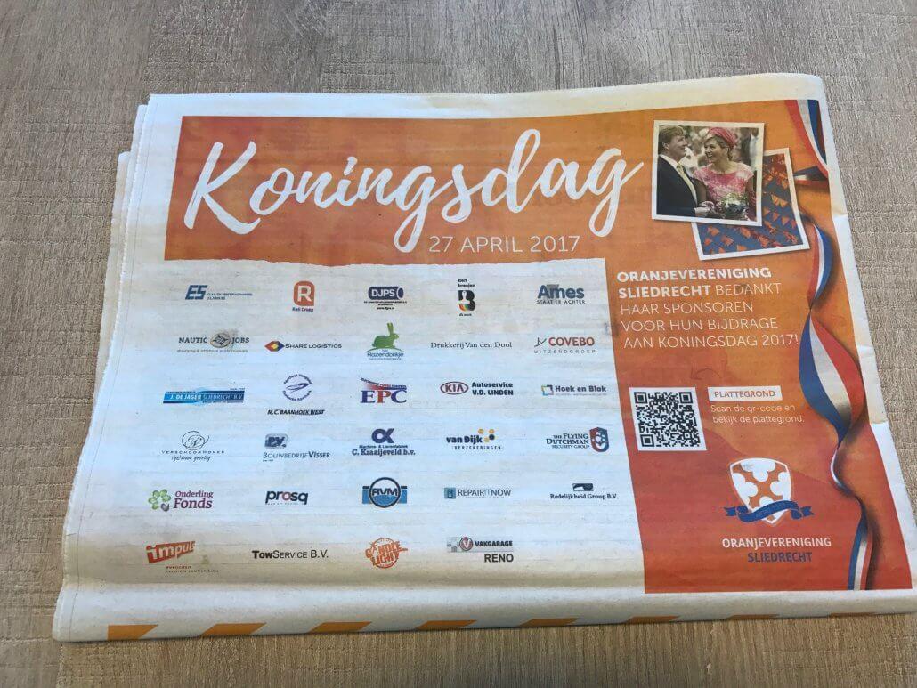 Repair IT Now in de krant het kompas door sponsoring Koningsdag 2017 Sliedrecht