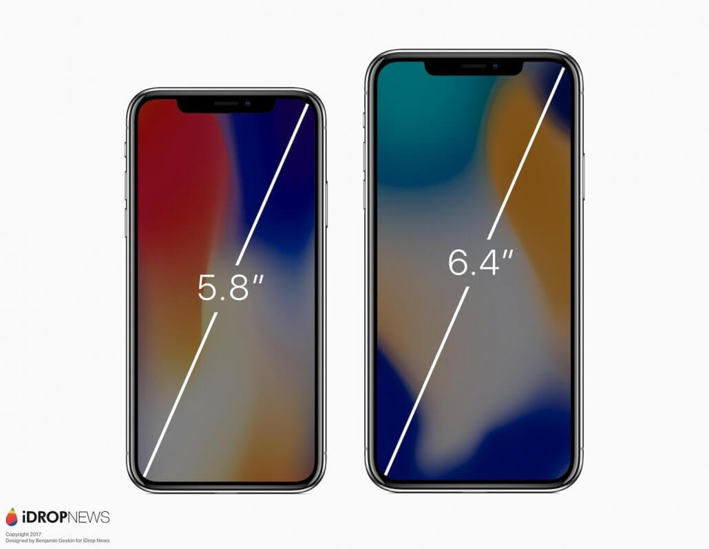 iPhone X Plus 2018 scherm afmetingen in verglijking met een iPhone X